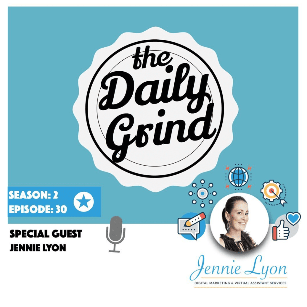 The Daily Grind Podcast Cover with Jennie Lyon