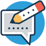 Copywriting icon of a pencil over a digital chat bubble.