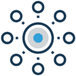 Marketing Icon of eight small circles around a centralized, multi-colored circle.