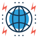 Podcasting & Voiceover icon of a globe accented with multiple red lightning bolt icons.