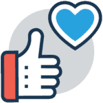 Social Media icon of a hand offering a thumbs-up next to a blue heart.